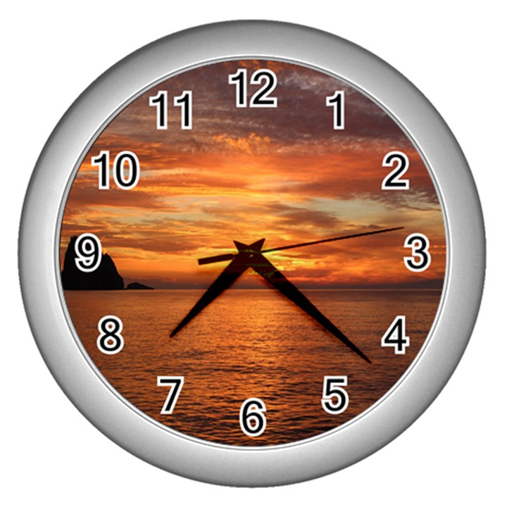 Sunset Sea Afterglow Boot Wall Clocks (Silver)