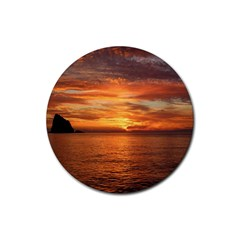 Sunset Sea Afterglow Boot Rubber Round Coaster (4 pack)