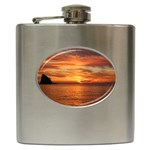 Sunset Sea Afterglow Boot Hip Flask (6 oz) Front