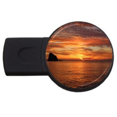 Sunset Sea Afterglow Boot USB Flash Drive Round (2 GB)