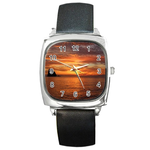 Sunset Sea Afterglow Boot Square Metal Watch