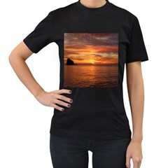 Sunset Sea Afterglow Boot Women s T-Shirt (Black) (Two Sided)