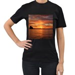 Sunset Sea Afterglow Boot Women s T-Shirt (Black) (Two Sided) Front