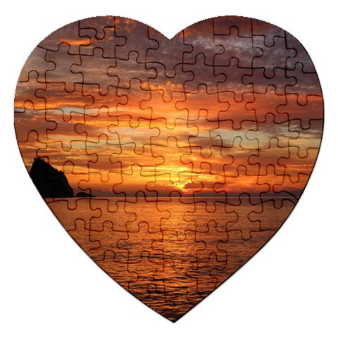 Sunset Sea Afterglow Boot Jigsaw Puzzle (Heart)