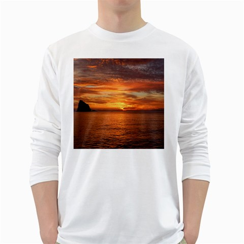 Sunset Sea Afterglow Boot White Long Sleeve T-Shirts