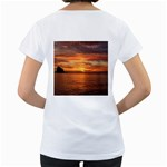 Sunset Sea Afterglow Boot Women s Loose-Fit T-Shirt (White) Back