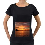 Sunset Sea Afterglow Boot Women s Loose-Fit T-Shirt (Black) Front