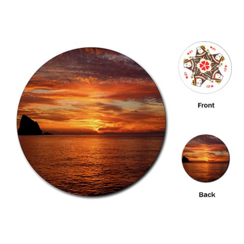 Sunset Sea Afterglow Boot Playing Cards (Round)