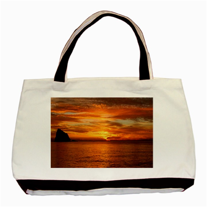 Sunset Sea Afterglow Boot Basic Tote Bag