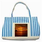 Sunset Sea Afterglow Boot Striped Blue Tote Bag Front
