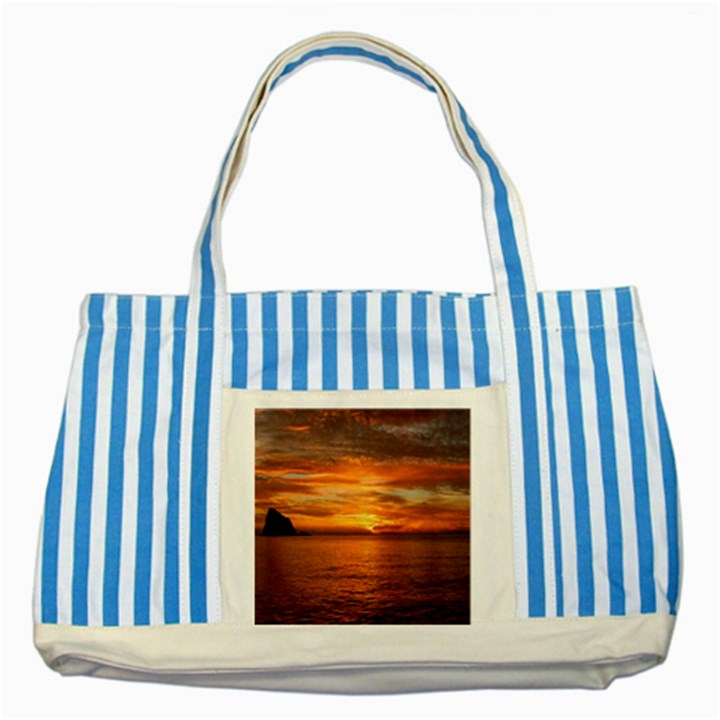 Sunset Sea Afterglow Boot Striped Blue Tote Bag
