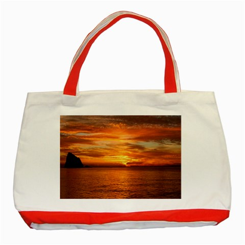 Sunset Sea Afterglow Boot Classic Tote Bag (Red)