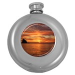 Sunset Sea Afterglow Boot Round Hip Flask (5 oz) Front