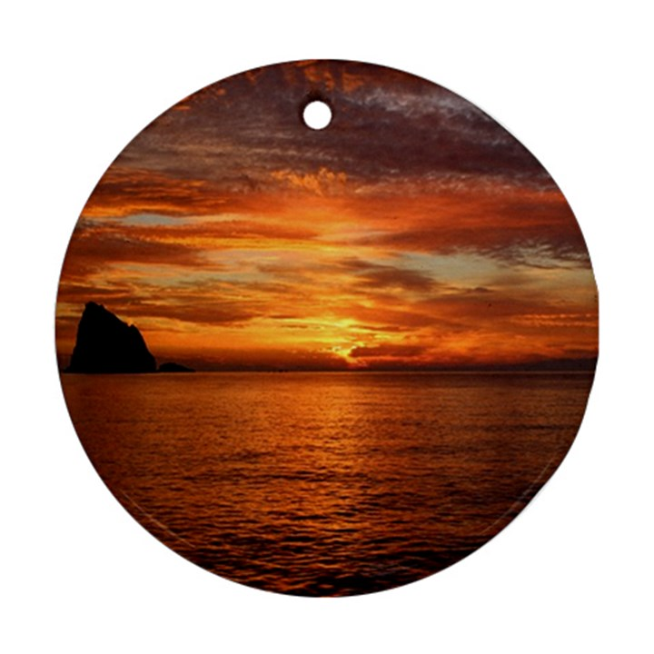 Sunset Sea Afterglow Boot Round Ornament (Two Sides)