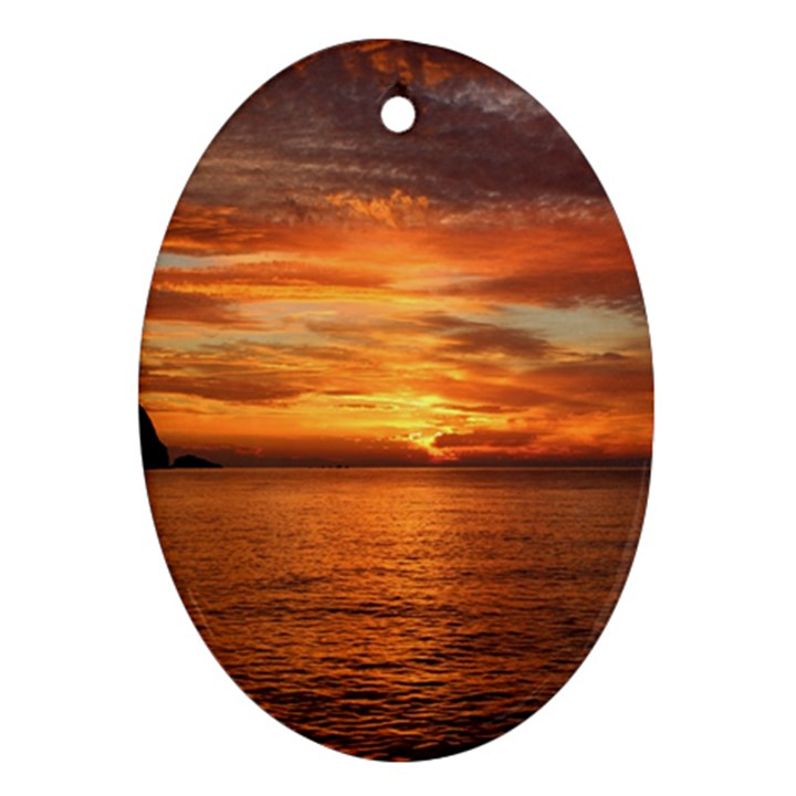 Sunset Sea Afterglow Boot Oval Ornament (Two Sides)