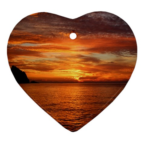 Sunset Sea Afterglow Boot Heart Ornament (2 Sides)