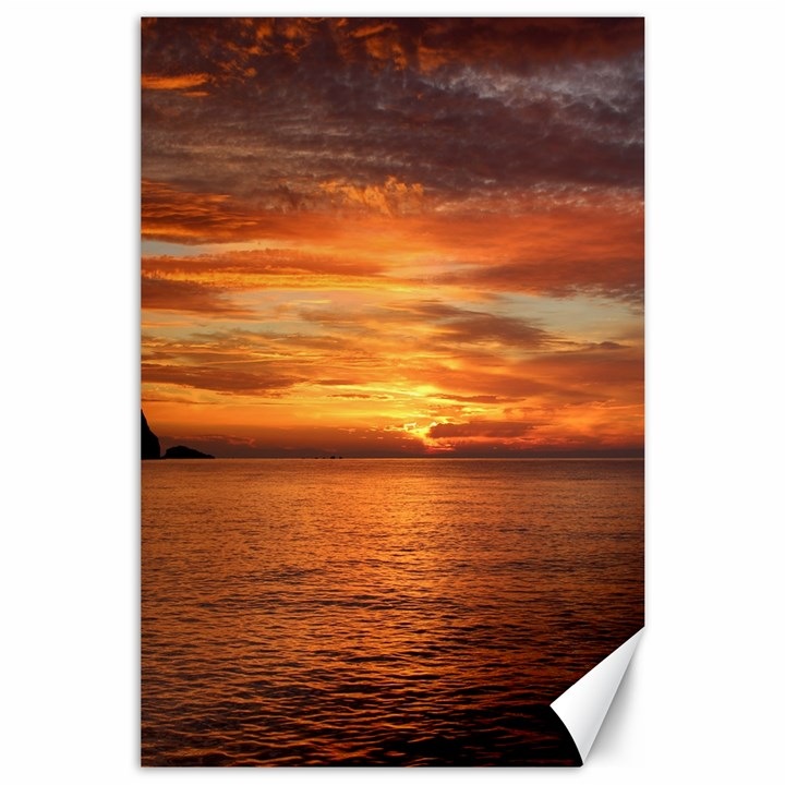 Sunset Sea Afterglow Boot Canvas 24  x 36