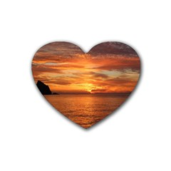 Sunset Sea Afterglow Boot Rubber Coaster (Heart)