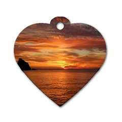 Sunset Sea Afterglow Boot Dog Tag Heart (Two Sides)