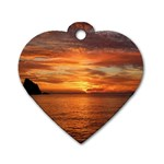 Sunset Sea Afterglow Boot Dog Tag Heart (Two Sides) Back
