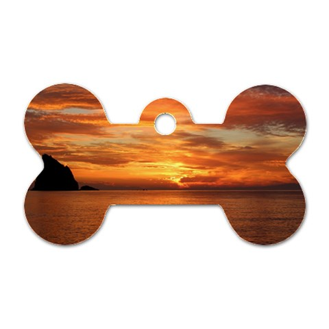 Sunset Sea Afterglow Boot Dog Tag Bone (Two Sides)