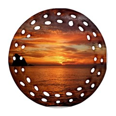 Sunset Sea Afterglow Boot Ornament (Round Filigree)