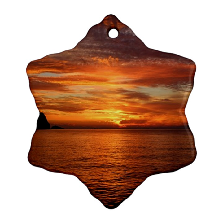 Sunset Sea Afterglow Boot Snowflake Ornament (2-Side)