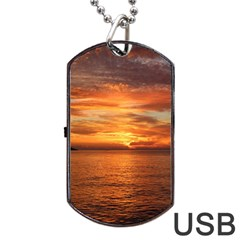 Sunset Sea Afterglow Boot Dog Tag USB Flash (One Side)