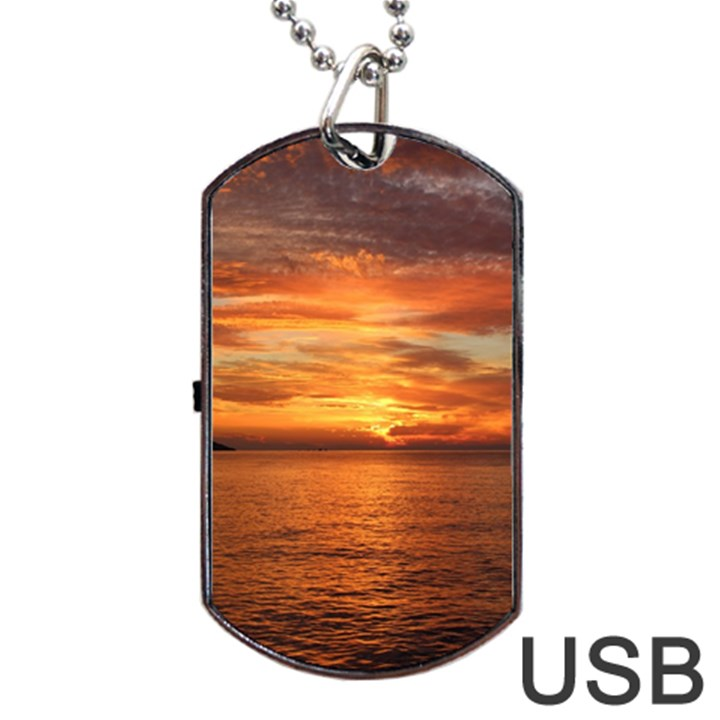 Sunset Sea Afterglow Boot Dog Tag USB Flash (Two Sides)