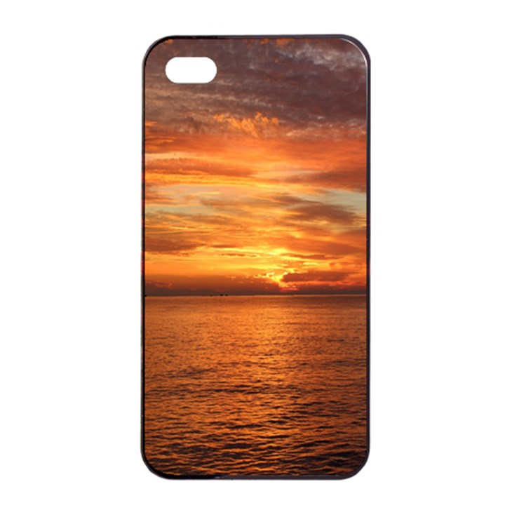 Sunset Sea Afterglow Boot Apple iPhone 4/4s Seamless Case (Black)