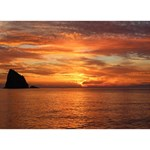 Sunset Sea Afterglow Boot Heart Bottom 3D Greeting Card (7x5) Back