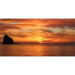 Sunset Sea Afterglow Boot Happy New Year 3D Greeting Card (8x4) Back