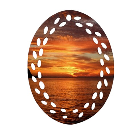 Sunset Sea Afterglow Boot Oval Filigree Ornament (2-Side)