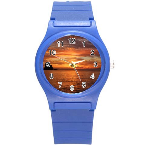 Sunset Sea Afterglow Boot Round Plastic Sport Watch (S)