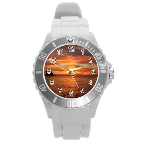 Sunset Sea Afterglow Boot Round Plastic Sport Watch (L)