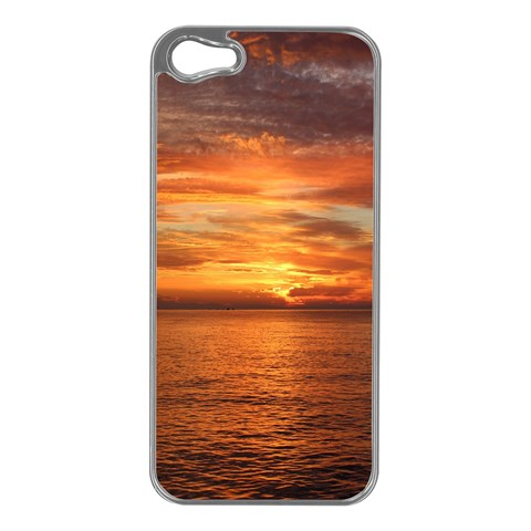 Sunset Sea Afterglow Boot Apple iPhone 5 Case (Silver)