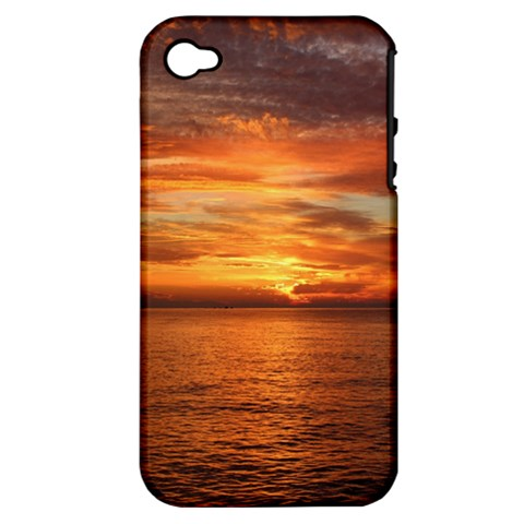 Sunset Sea Afterglow Boot Apple iPhone 4/4S Hardshell Case (PC+Silicone)