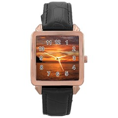 Sunset Sea Afterglow Boot Rose Gold Leather Watch