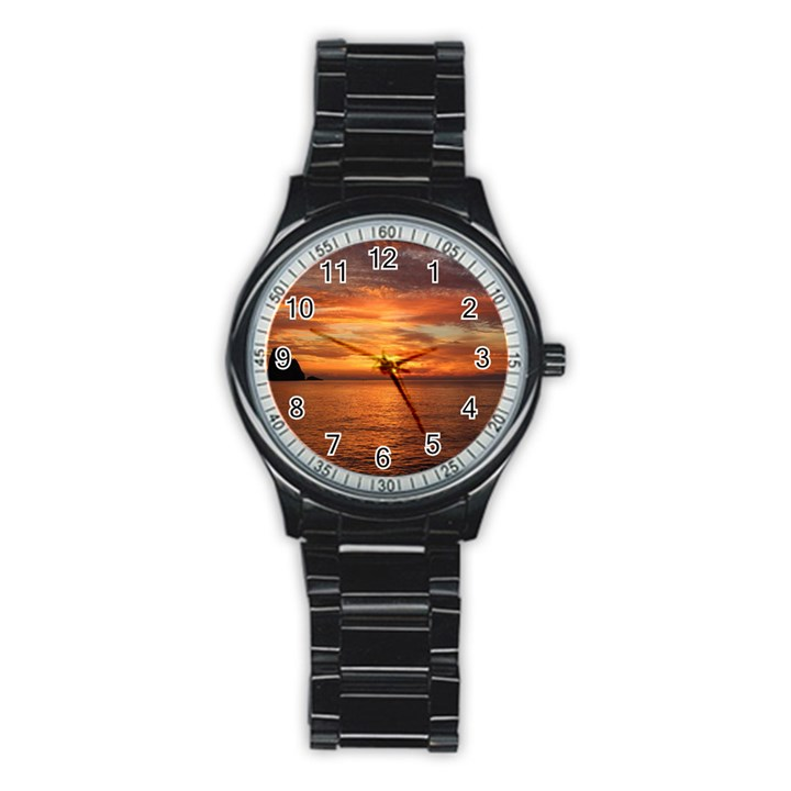 Sunset Sea Afterglow Boot Stainless Steel Round Watch