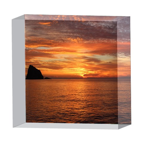 Sunset Sea Afterglow Boot 5  x 5  Acrylic Photo Blocks