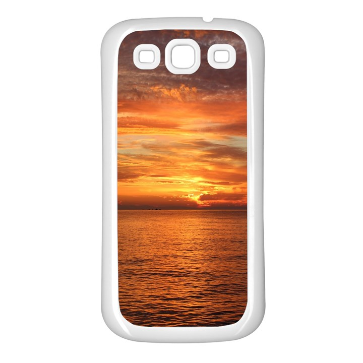 Sunset Sea Afterglow Boot Samsung Galaxy S3 Back Case (White)