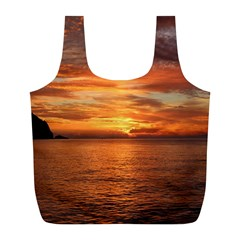 Sunset Sea Afterglow Boot Full Print Recycle Bags (L)
