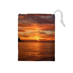 Sunset Sea Afterglow Boot Drawstring Pouches (Medium)