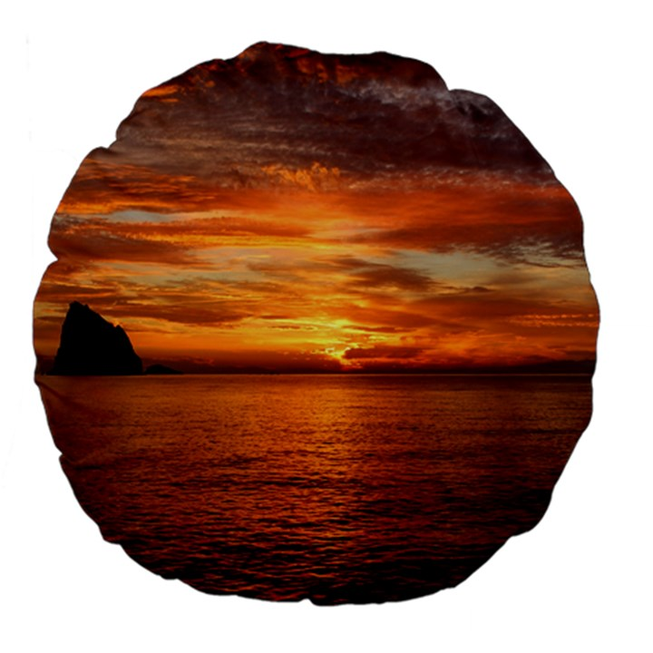 Sunset Sea Afterglow Boot Large 18  Premium Flano Round Cushions