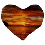 Sunset Sea Afterglow Boot Large 19  Premium Flano Heart Shape Cushions Front