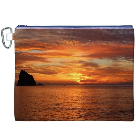 Sunset Sea Afterglow Boot Canvas Cosmetic Bag (XXXL)