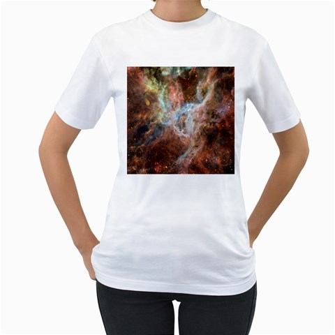 Tarantula Nebula Central Portion Women s T-Shirt (White) (Two Sided)