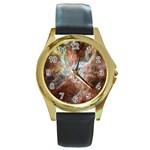 Tarantula Nebula Central Portion Round Gold Metal Watch Front