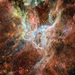 Tarantula Nebula Central Portion Happy New Year 3D Greeting Card (8x4) Inside