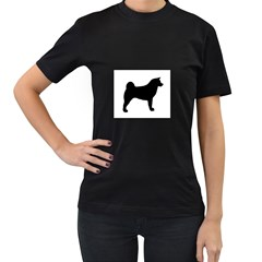 Akita Silo2 Women s T-Shirt (Black) (Two Sided)
